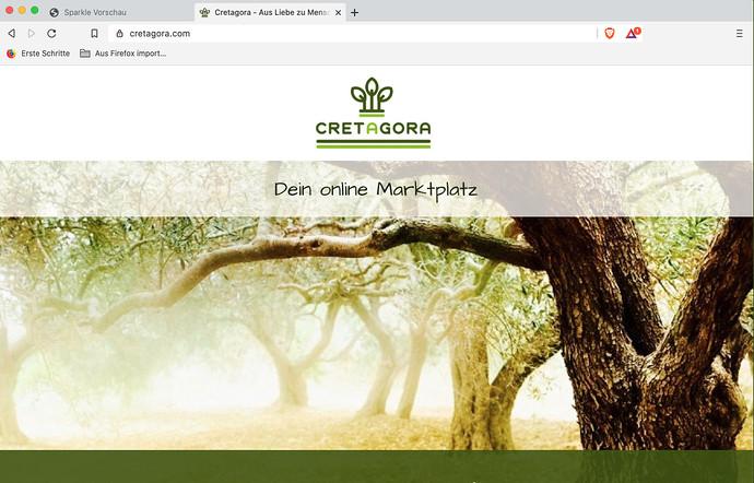 Screenshot published site